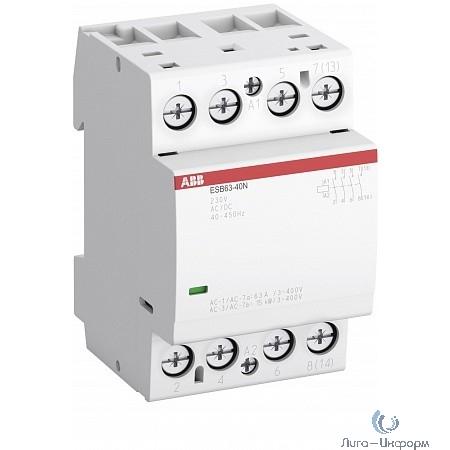 ABB 1SAE351111R0640 Контактор ESB63-40N-06 модульный (63А АС-1, 4НО), катушка 230В AC/DC