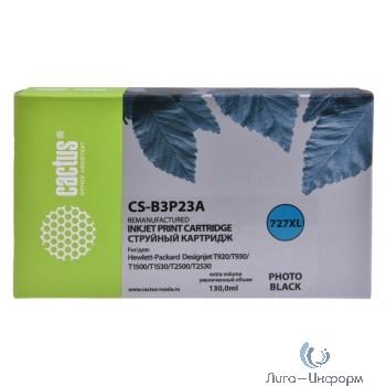 B3P23A CACTUS  Картридж №727 для HP DJ T920/T1500/T2530, фото черный (130мл)
