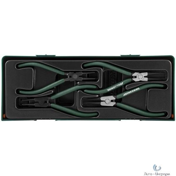 """AG010002SC Ложемент с пластиковой крышкой, набор щипцов 7"""" для стопорных колец, 4 предмета."""