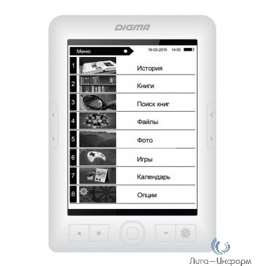 "Электронная книга Digma R63W 6"" E-Ink Carta 800x600 600MHz/4Gb/microSDHC/frontlight белый [1126117]"