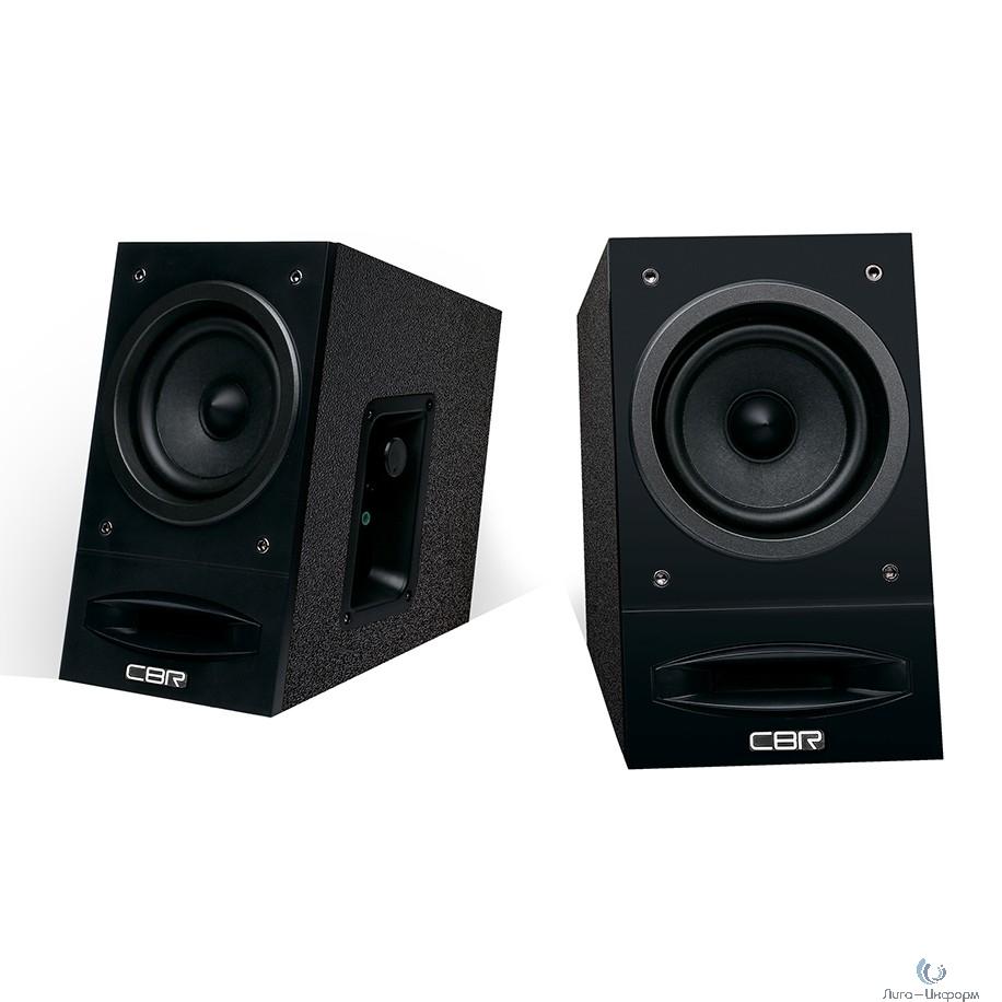CBR CMS 590 Black, Акустическая система 2.0, питание 220 В, 2х5 Вт (10 Вт RMS), материал корпуса MDF, 3.5 мм линейный стереовход, регул. громк., выход на наушники, длина кабеля 1,5 м, цвет чёрный