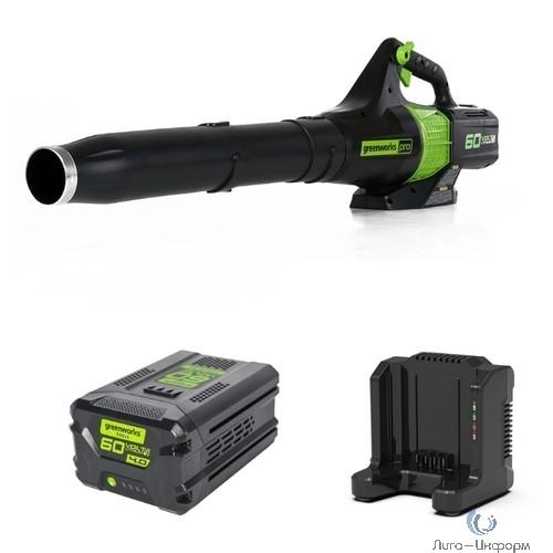 Greenworks Воздуходув аккумуляторный GD60ABK4, {60V, бесщеточный, c 1хАКБ 4 А.ч. и ЗУ} [2401307UB]