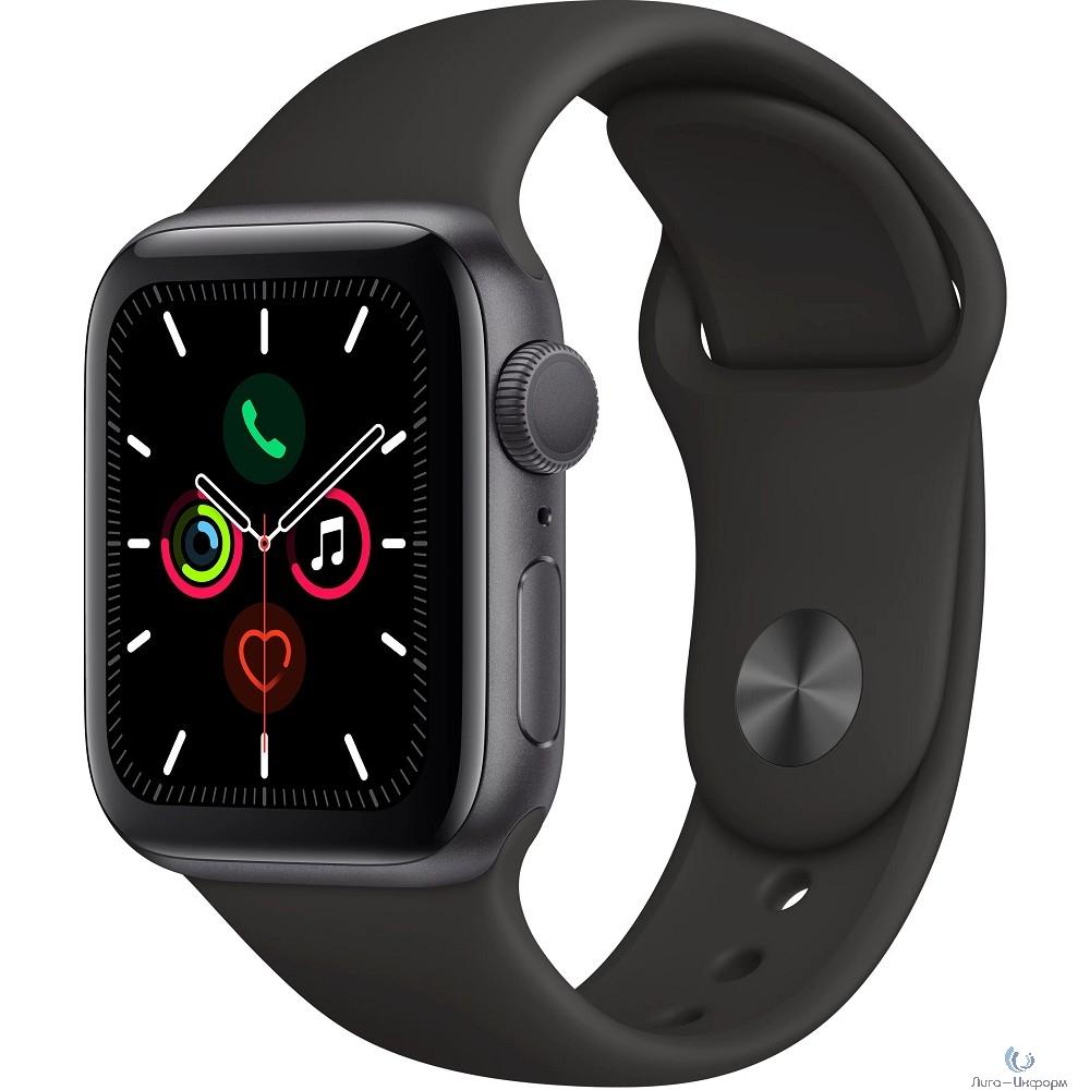 Apple Watch Series 5, 40 мм, корпус из алюминия цвета «серый космос», спортивный браслет чёрного цвета [MWV82RU/A]