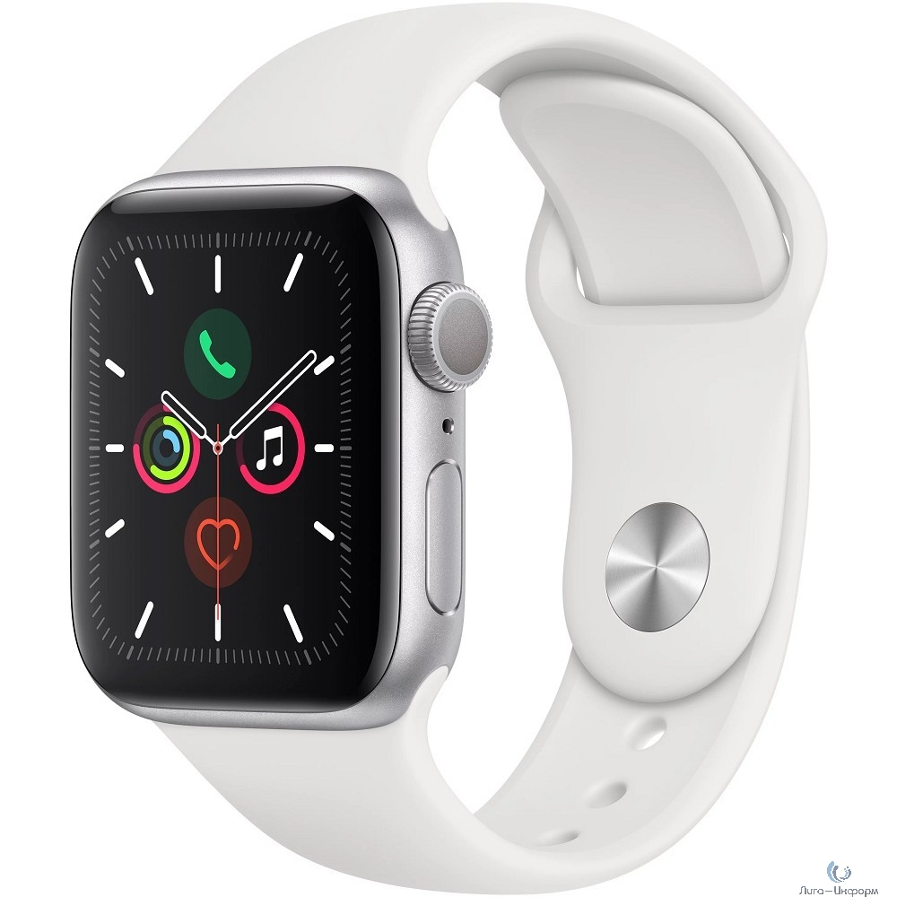 Apple Watch Series 5, 44 мм, корпус из алюминия серебристого цвета, спортивный браслет белого цвета [MWVD2RU/A]
