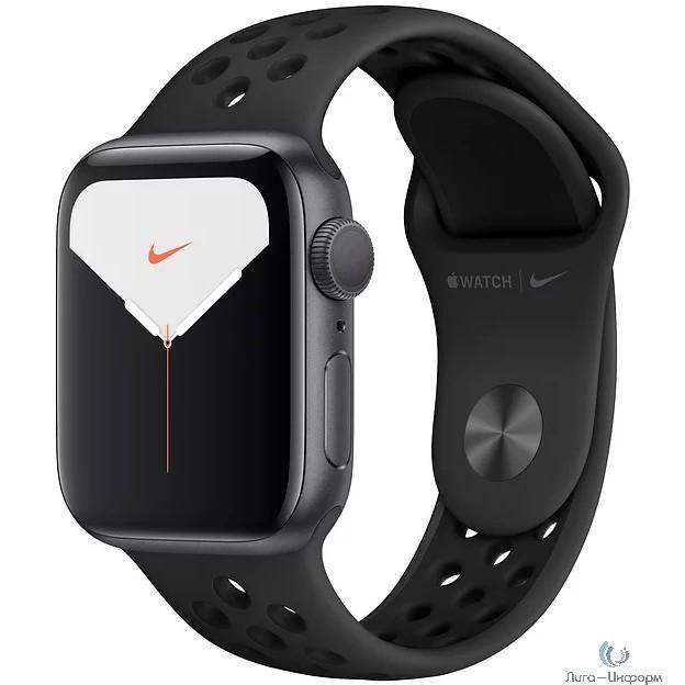 Apple Watch Nike Series 5, 40 мм, корпус из алюминия цвета «серый космос», спортивный ремешок Nike «антрацитовый/чёрный» [MX3T2RU/A]