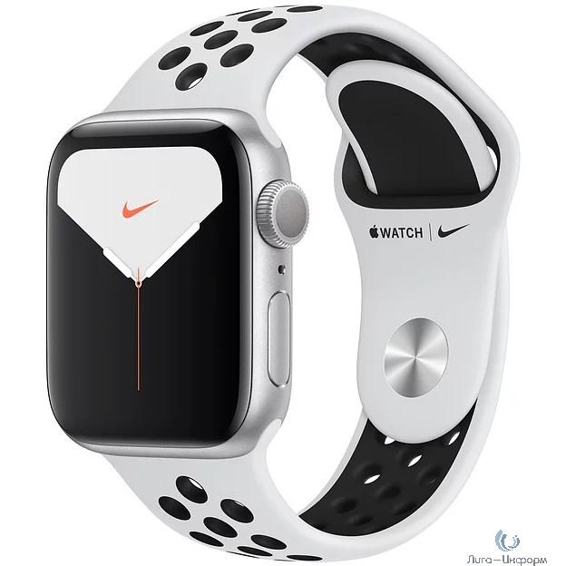 Apple Watch Nike Series 5, 40 мм, корпус из алюминия серебристого цвета, спортивный ремешок Nike «чистая платина/чёрный» [MX3R2RU/A]