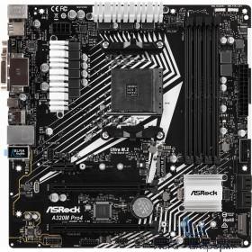 Asrock A320M PRO4 R2.0 RTL {AM4, AMD A320, DDR4,  D-SUB+DVI-D+HDMI, 1xPCI-Ex1}