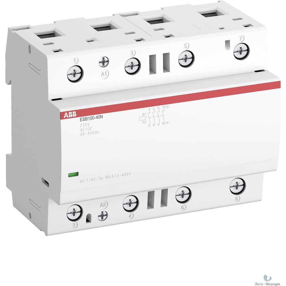 ABB 1SAE661111R0640 Контактор ESB100-40N-06 модульный (100А АС-1, 4НО), катушка 230В AC/DC