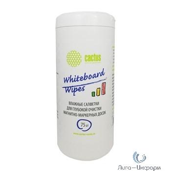 CACTUS CS-WB075 Салфетки для маркерных досок туба 75шт влажных