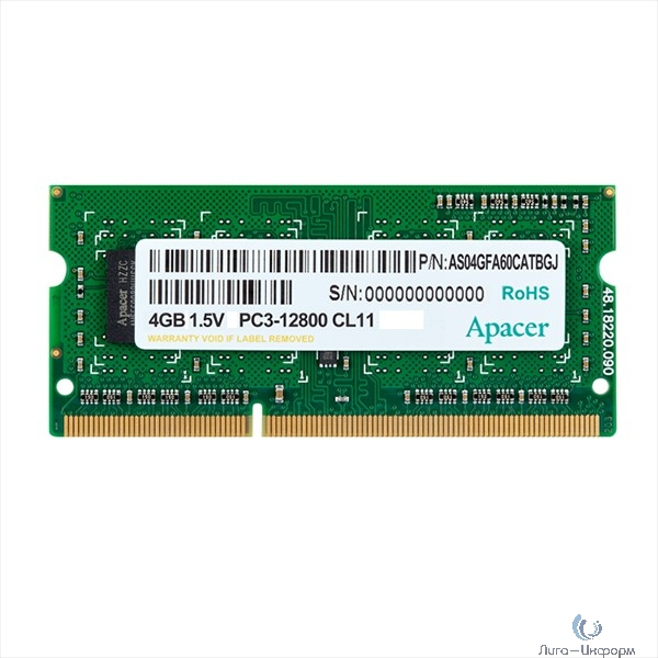 Apacer DDR3 SODIMM 4GB DS.04G2K.KAM PC3-12800, 1600MHz