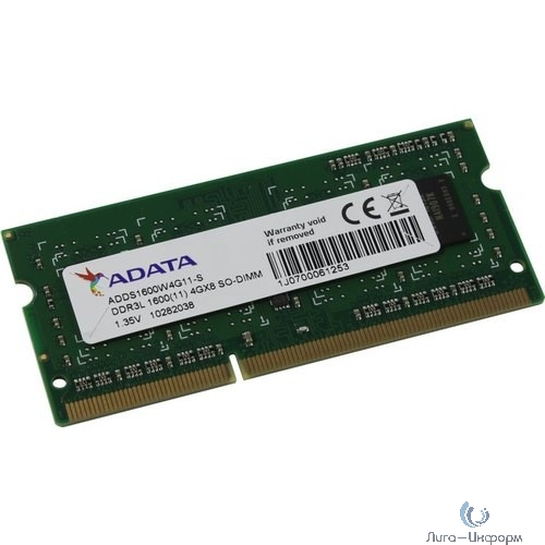 A-Data DDR3 SODIMM 4GB ADDS1600W4G11-S PC3-12800, 1600MHz, 1.35V