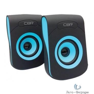 """CBR CMS 366 Blue, Акустическая система 2.0, питание USB, 2х3 Вт (6 Вт RMS), материал корп. пластик, покрытие """"софт-тач"""", 3.5 мм лин. стереовход, регул. громк., длина кабеля 1,2 м, цвет чёрный-голубой"""
