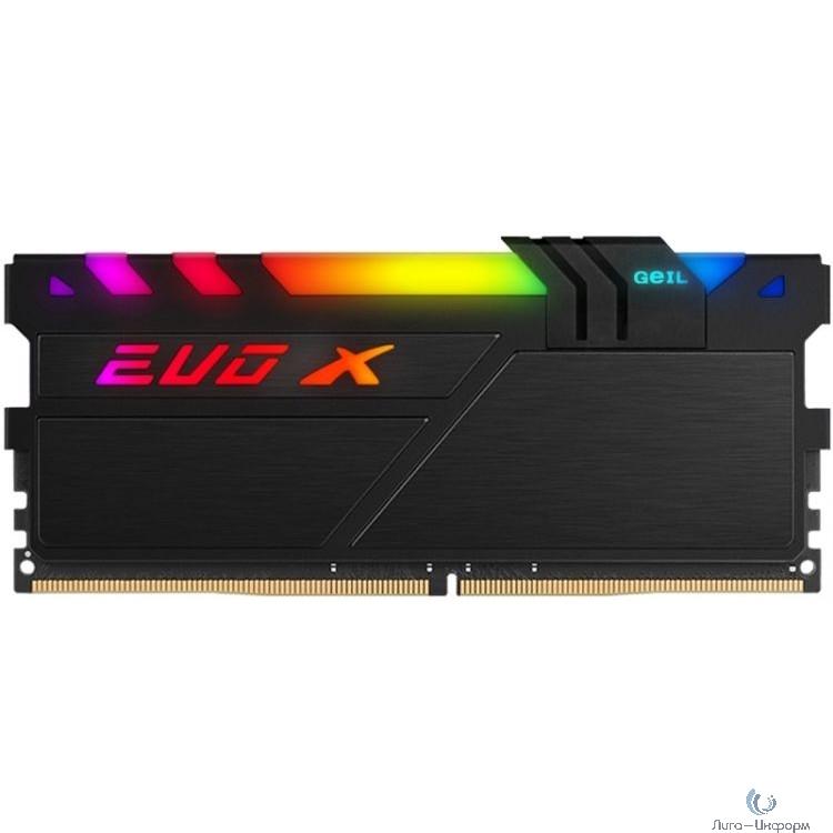 16GB GeIL DDR4 3200 DIMM EVO X II Black RGB Gaming Memory GEXSB416GB3200C16ASC Non-ECC, CL16, 1.35V, Heat Shield, XMP 2.0, ASUS AURA, Gigabyte Fusion, MSI Mystic Light, ASRock Polychrome, RTL
