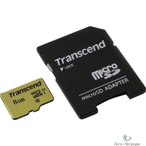 Micro SecureDigital 8Gb Transcend TS8GUSD500S {MicroSDHC Class 10 UHS-I U3, SD adapter}