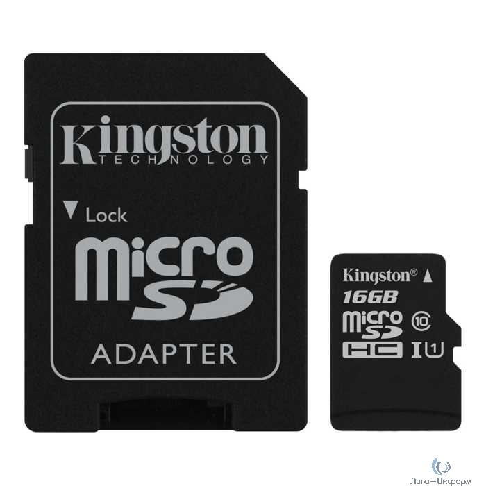 Micro SecureDigital 16Gb Kingston SDCS2/16GB {MicroSDHC Class 10 UHS-I, SD adapter}