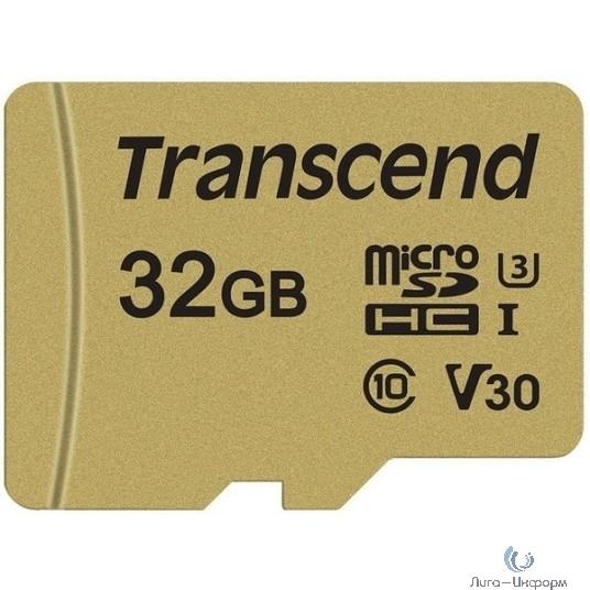 Micro SecureDigital 32Gb Transcend TS32GUSD500S {MicroSDHC Class 10 UHS-I U3, SD adapter}