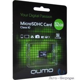 Micro SecureDigital 32Gb QUMO QM32GMICSDHC10U1NA {MicroSDHC Class 10 UHS-I}