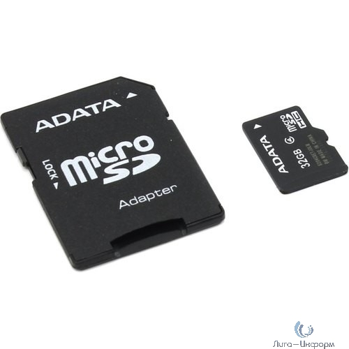 Micro SecureDigital 32Gb A-DATA AUSDH32GCL4-RA1 {MicroSDHC Class 4 UHS-I, SD adapter}