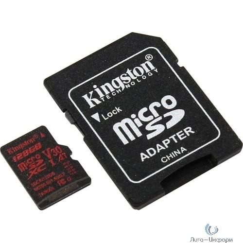 Micro SecureDigital 128Gb Kingston SDCR/128GB {MicroSDXC Class 10 UHS-I V30 A1, Canvas React, SD adapter}