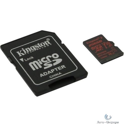 Micro SecureDigital 256Gb Kingston SDCR/256GB {MicroSDXC Class 10 UHS-I, SD adapter}