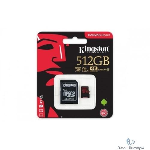 Micro SecureDigital 512Gb Kingston SDCR/512GB {MicroSDXC Class 10 UHS-I V30 A1, Canvas React, SD adapter}