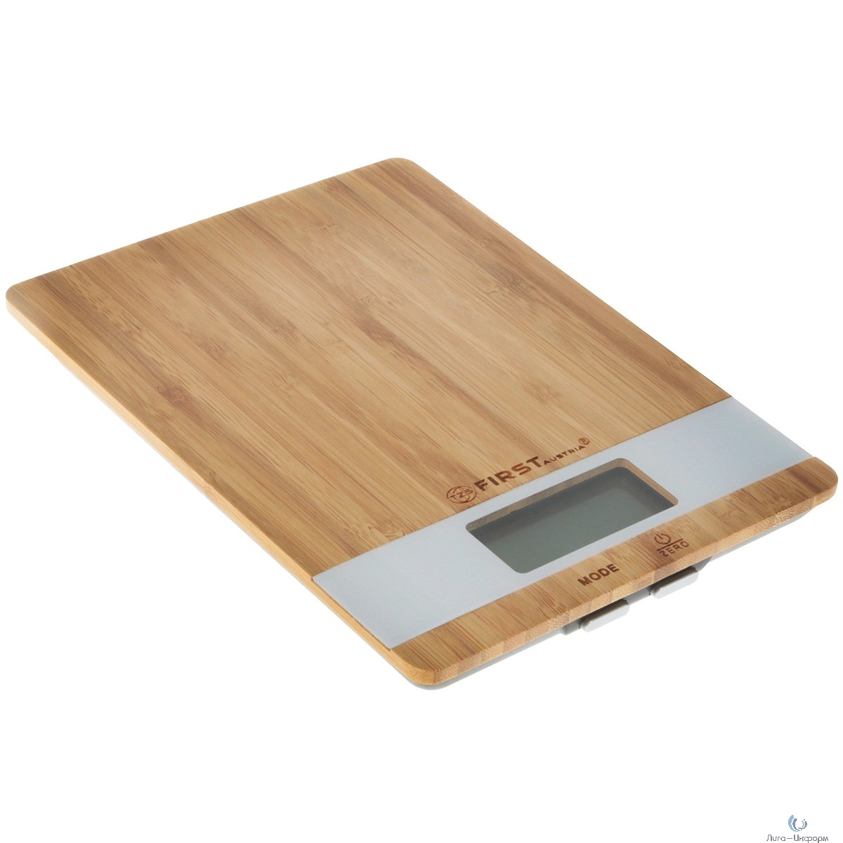 FIRST FA-6410 Весы кухонные, електронные, бамбук.платф., электр., 5 кг, 1 гр, тарокомпенсация, белые.