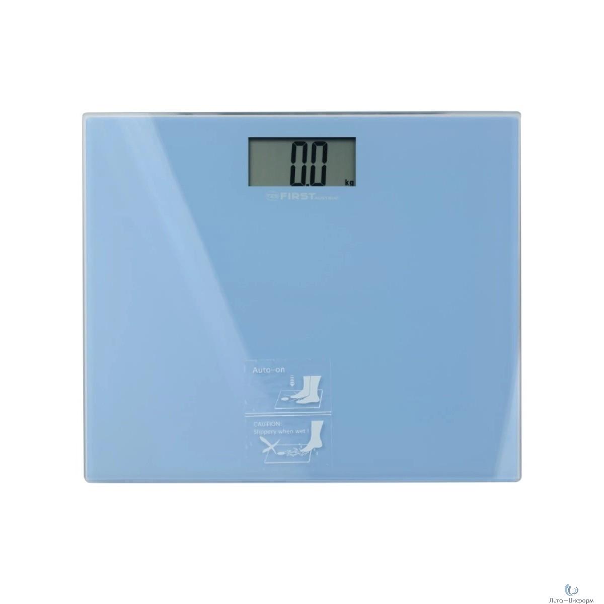 FIRST FA-8015-2-BL Весы напольные, электронные, ЖК-диспл., стекл. 6 мм, 150 кг, Градация: 100гр, серый.