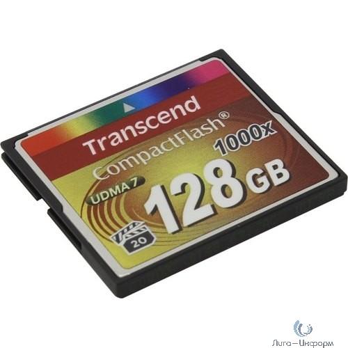 Флеш-накопитель Transcend 128GB Transcend CompctFlash 1000X MLC, R: 160MB/s Поддерживает запись в высоком разрешении Full-HD, 3D и 4K UHDTV (2160p)
