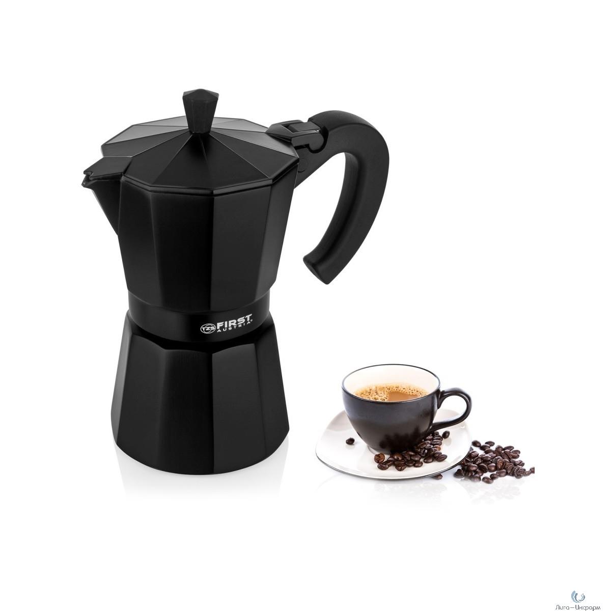 FIRST (FA-5471 Black) Кофеварка гейзерная, Объем 300 мл / 6 чашек.Для использования на горячей плите
