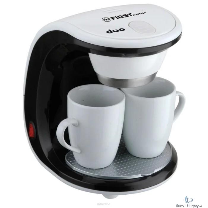 FIRST (FA-5453-2 White/black) Кофеварка, 450 Вт, 2 чашки, White/black