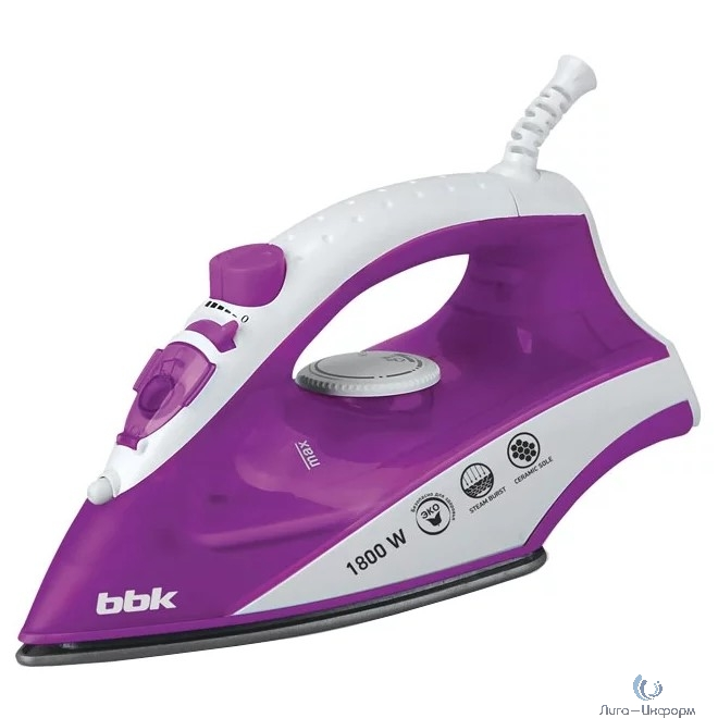 BBK ISE-1802 Утюг, белый/фиолетовый