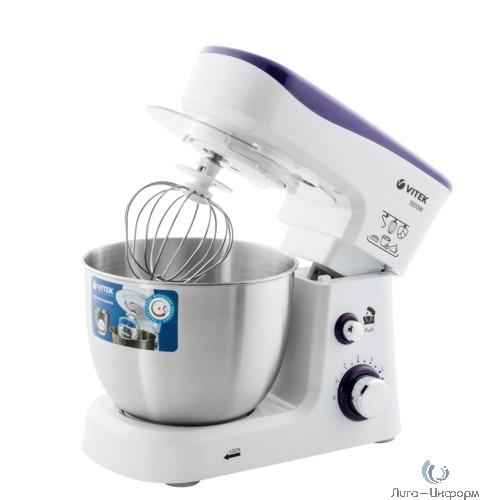 VITEK VT-1443(W) Кухонная машина  мощность 1000 Вт. Стальная чаша вместимостью 3,5 л.6 скорост.режимов