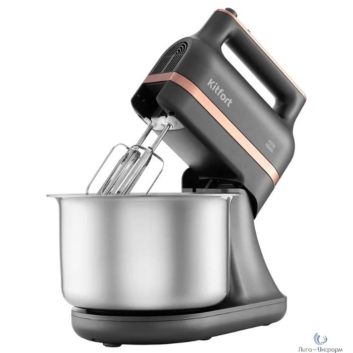 KITFORT КТ-1369 Миксер .Мощность: 400 Вт.Ёмкость чаши: 3,5 л.Материал чаши: нерж.сталь.