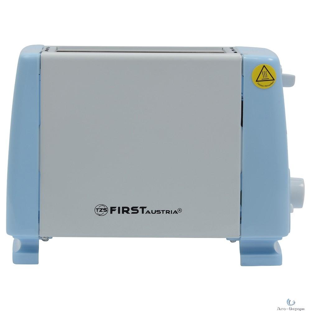 FIRST Тостер FA-5366, 750 Вт, 2 тоста, рег.поджаривания.Корпус из нержавеющей стали. Blue