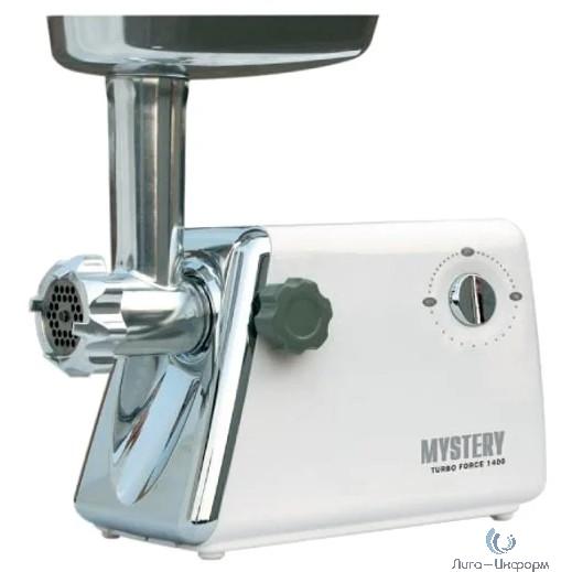 MYSTERY (MGM-1450) Мясорубка, 1400 Вт, 3 насадки, реверс, защита от перегрузки, металлический лоток, резиновые ножки, толкатель для продуктов, насадки для куббе