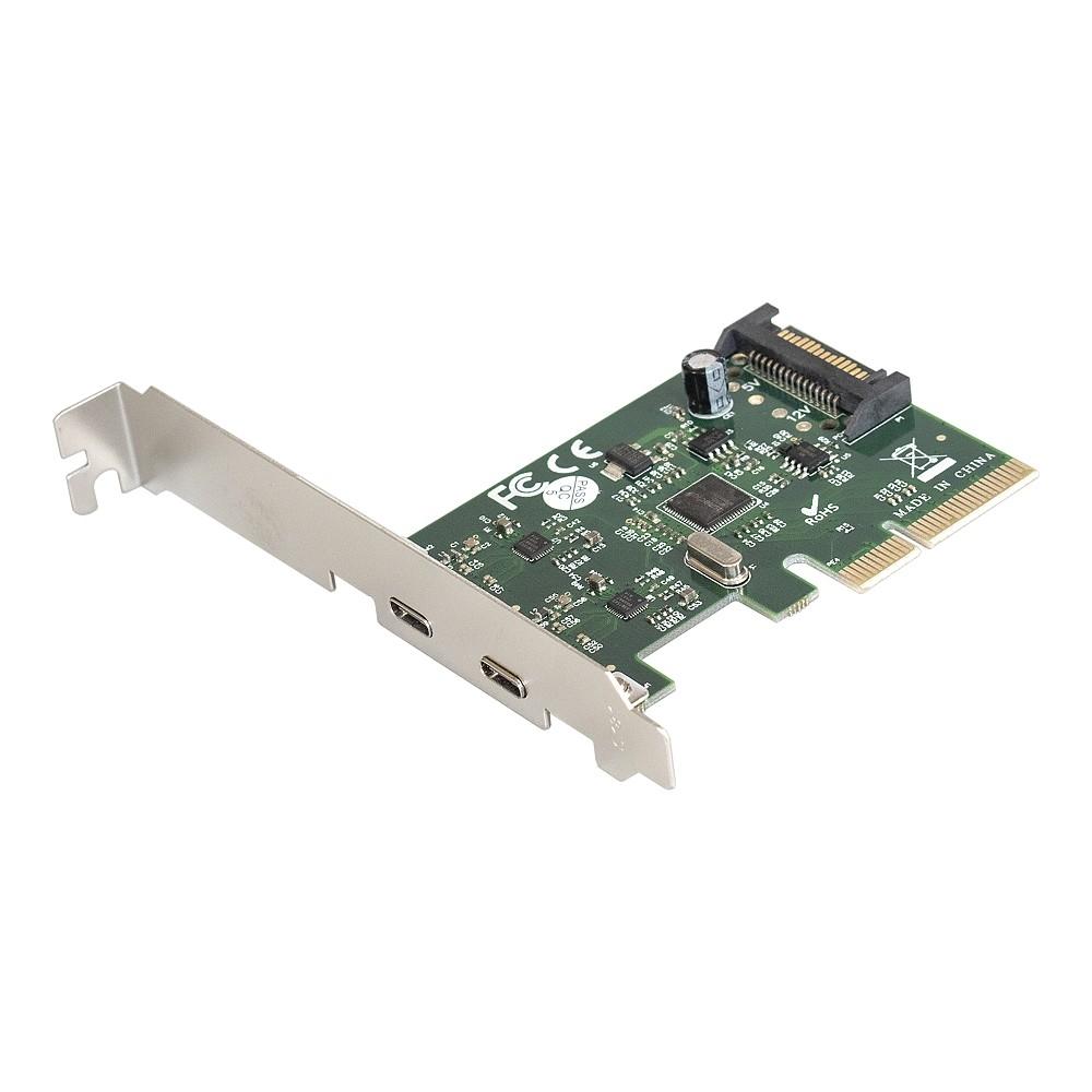 Exegate EX283715RUS Контроллер EXE-313 PCI-Ex4, 2*USB3.1 Type-C ext, разъем доп. питания (OEM)