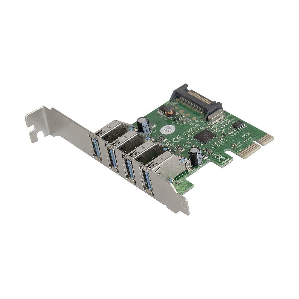 Exegate EX283716RUS Контроллер EXE-314 PCI-E 2.0, 4*USB3.0 ext, разъем доп. питания (OEM)