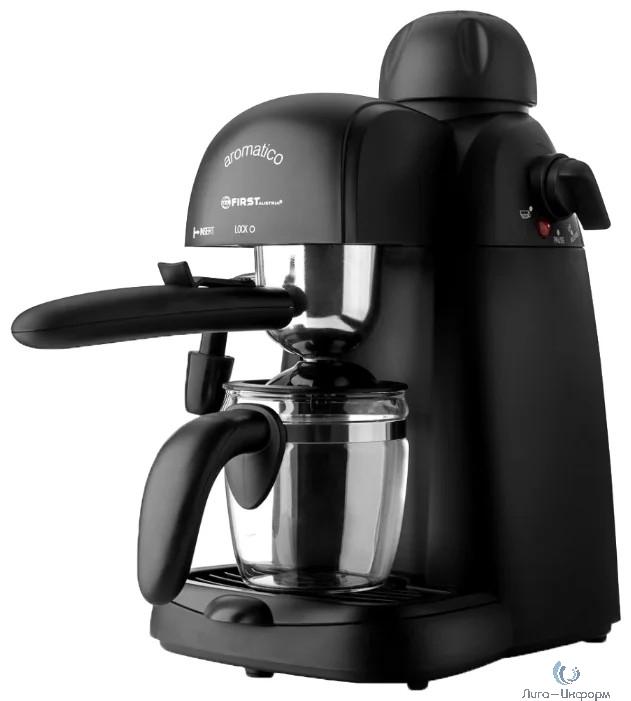FIRST (FA-5475-3 Black) Кофеварка Espresso , 800 Вт, Давление насоса: 3.5 бар.Емкость: 4 чашки  (240 мл) Черный