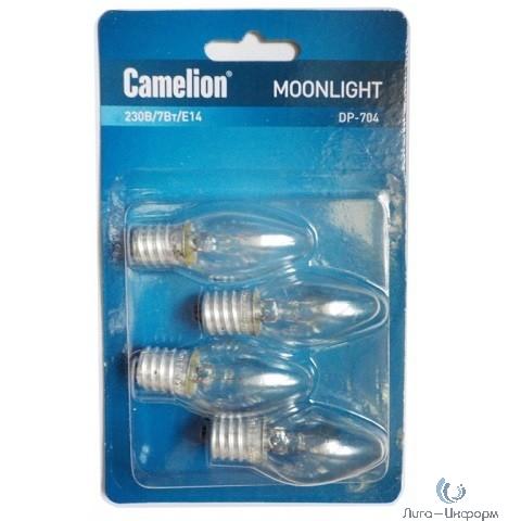 Camelion DP-704 (Эл.лампа накаливания для ночников, прозрачная, 220V, 7W, Е14)  уп. 4 шт