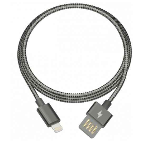 """RITMIX RCC-426 Metal Grey ("""" Кабель Lightning 8 pin USB-USB для зарядки/<wbr>синхронизации, 1м, Металлическая оплетка Двухсторонний USB коннектор  2А"""" )"""
