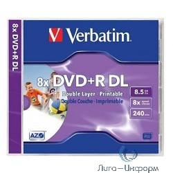 DVD+R 8x, 8.5Gb Double Layer, Verbatim Wide printable (Jewel Case) [43665/43664]