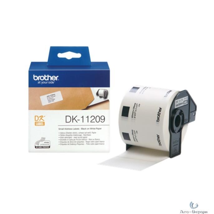 Brother DK11209 Наклейки адресные (29 x 62 мм), 800 штук в рулоне