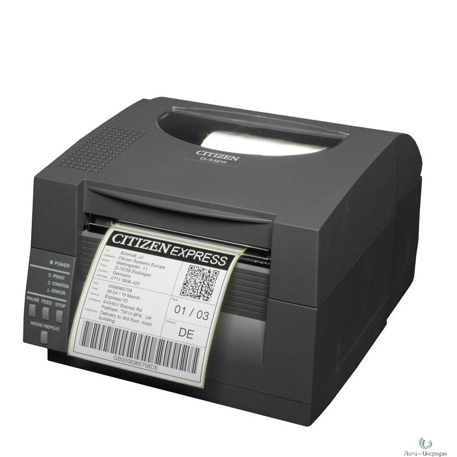Citizen CL-S521II Принтер DT  Direct thermal, Black, UK+EN Plug