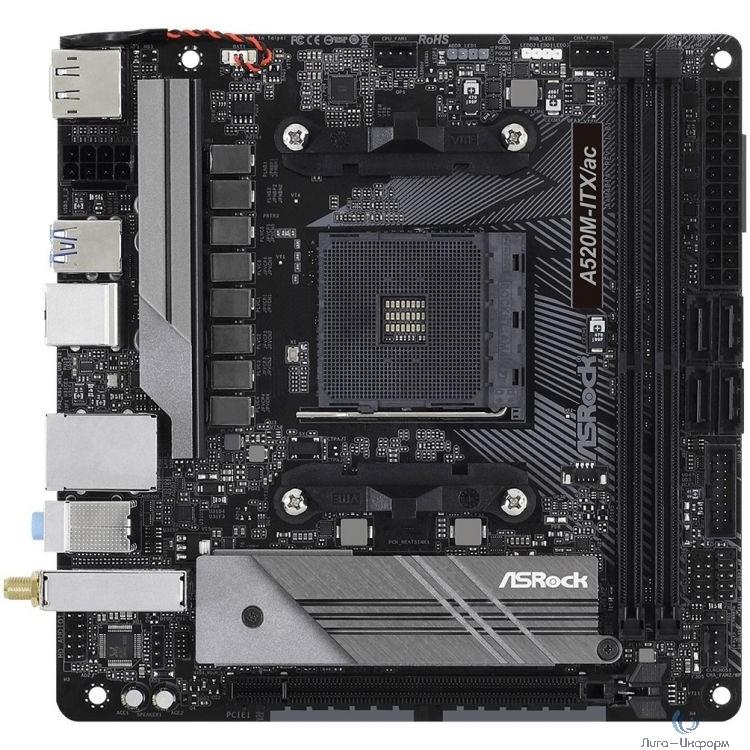 Asrock A520M-ITX/AC RTL {AMD A520, сокет: AM4, слоты: 2 слота DDR4 DIMM (2133 - 4733 МГц), SATA: 6 Гбит/с х4, A520M-ITX/AC}