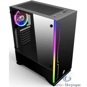 1STPLAYER B6B-1R1 Корпус BLACK.SIR B6 BLACK / ATX, tempered glass side panel / 1x 120mm LED fan inc. / B6B-1R1