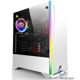 1STPLAYER B6W-1R1 Корпус BLACK.SIR B6 WHITE / ATX, tempered glass side panel / 1x 120mm LED fan inc. / B6W-1R1