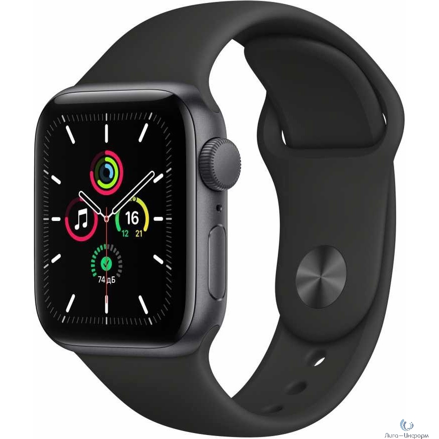 Apple Watch SE GPS, 44mm Space Gray Aluminium Black Sport Band [MYDT2RU/A]