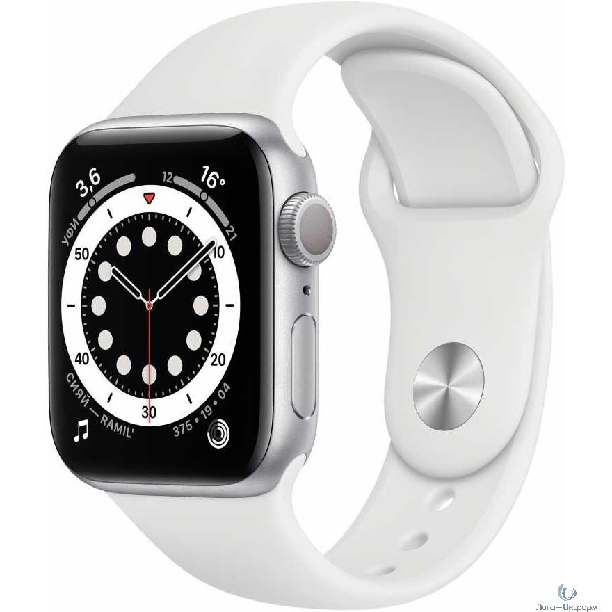 Apple Watch Series 6 GPS, 40mm Silver Aluminium White Sport Band [MG283RU/A]