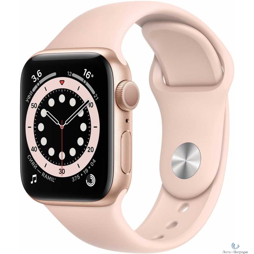 Apple Watch Series 6 GPS, 40mm Gold Aluminium Case with Pink Sand Sport Band [MG123RU/A]