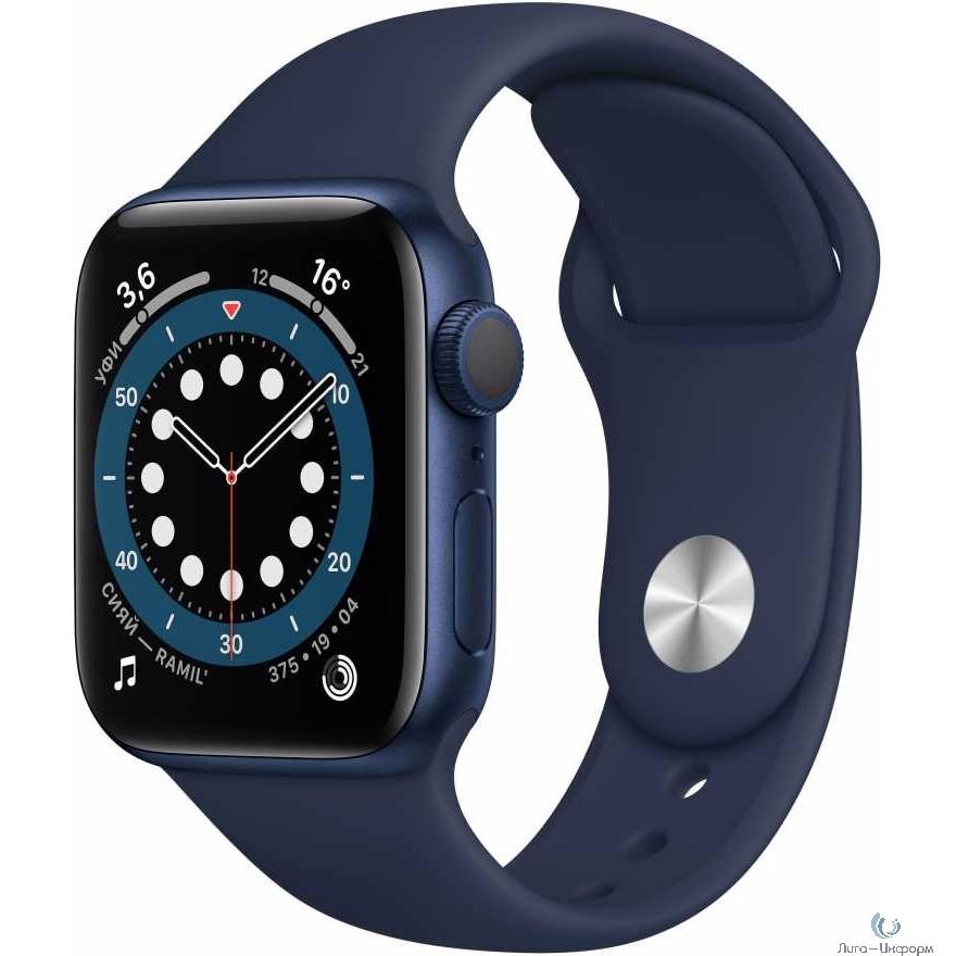 Apple Watch Series 6 GPS, 40mm Blue Aluminium Deep Navy Sport Band [MG143RU/A]